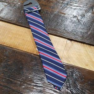 Men's tie- red white blue stripe 100% silk